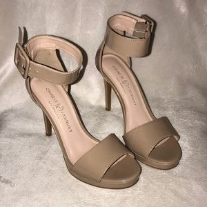 Chinese Laundry ankle strap nude heels.
